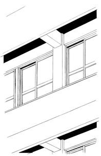 手描き背景線画_学校_外観06のイラスト素材 [FYI00605135]