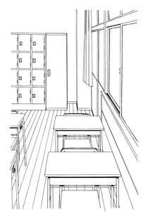 手描き背景線画_学校_教室02のイラスト素材 [FYI00605137]