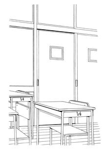 手描き背景線画_学校_教室04のイラスト素材 [FYI00605138]