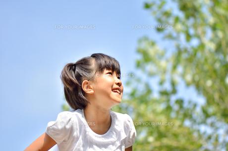青空で笑う女の子の写真素材 [FYI00618421]