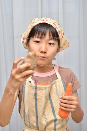 料理をする女の子の写真素材 [FYI00619189]