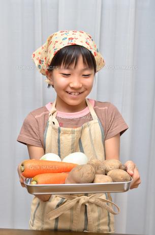 料理をする女の子の写真素材 [FYI00619193]