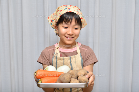 料理をする女の子の写真素材 [FYI00619194]