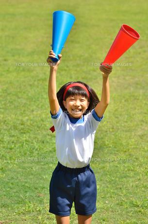 応援する女の子(体操服、メガホン、小学生、芝生、運動会)の写真素材 [FYI00619900]