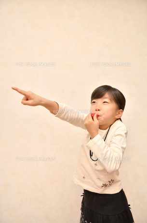 笛を吹く女の子の写真素材 [FYI00620881]