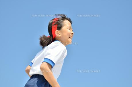 青空で走る小学生の女の子(体操服、運動会)の写真素材 [FYI00621150]
