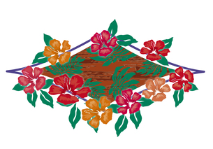 ハイビスカスとヤシの葉のオーナメント  クラシカルなイメージイラストのイラスト素材 [FYI00621433]