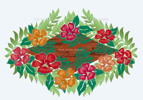 ハイビスカスとヤシの葉のオーナメント  クラシカルなイメージイラストのイラスト素材 [FYI00621434]