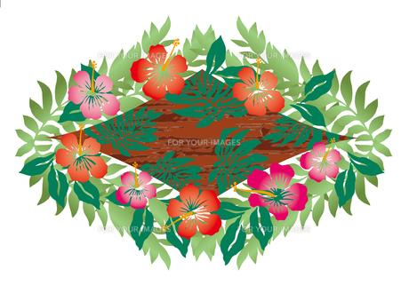 ハイビスカスとヤシの葉のオーナメント  クラシカルなイメージイラストのイラスト素材 [FYI00621436]