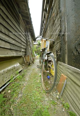 里山、琵琶湖と命をめぐる湧き水と共存する村の路地の写真素材 [FYI00622273]