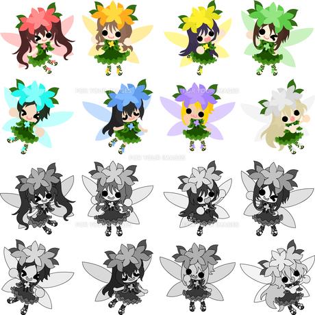 可愛い妖精達のアイコンのイラスト素材 [FYI00625756]