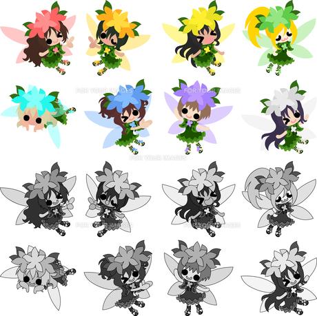 可愛い妖精達のアイコンのイラスト素材 [FYI00625757]