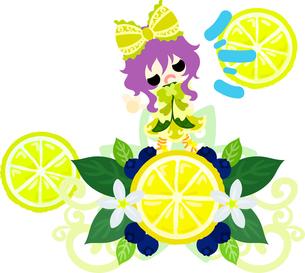 レモンと可愛い女の子のイラストのイラスト素材 [FYI00625913]