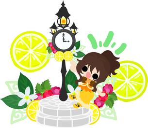 レモンと可愛い女の子のイラストのイラスト素材 [FYI00625914]