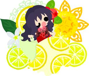 レモンと可愛い女の子のイラストのイラスト素材 [FYI00625915]