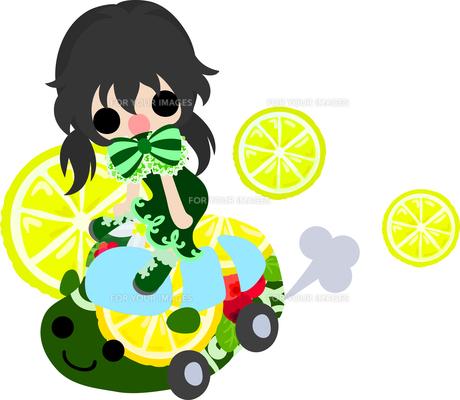 レモンと可愛い女の子のイラストのイラスト素材 [FYI00625916]