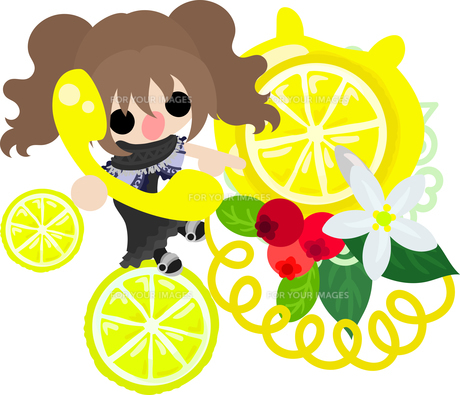 レモンと可愛い女の子のイラストのイラスト素材 [FYI00625919]