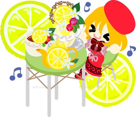レモンと可愛い女の子のイラストのイラスト素材 [FYI00625922]