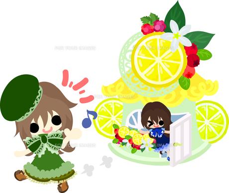 レモンと可愛い女の子のイラストのイラスト素材 [FYI00626292]