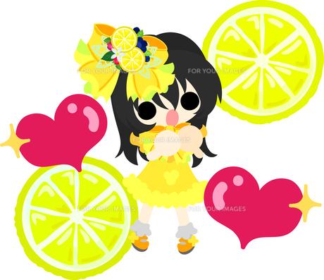 レモンと可愛い女の子のイラストのイラスト素材 [FYI00626293]