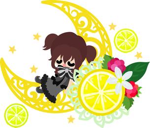 レモンと可愛い女の子のイラストのイラスト素材 [FYI00626295]