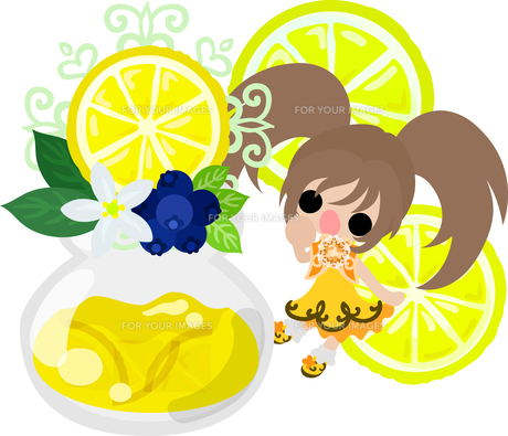 レモンと可愛い女の子のイラストのイラスト素材 [FYI00626297]