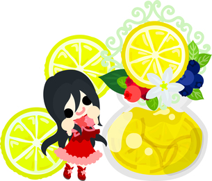 レモンと可愛い女の子のイラストのイラスト素材 [FYI00626298]