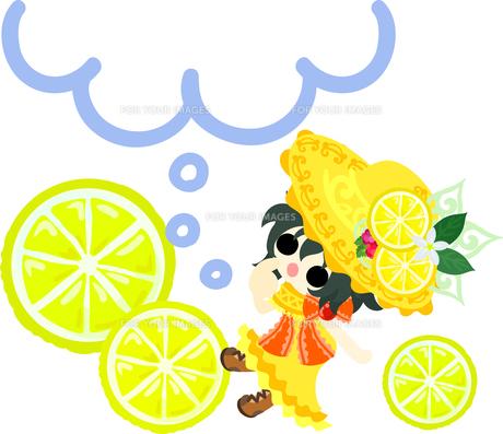 レモンと可愛い女の子のイラストのイラスト素材 [FYI00626381]