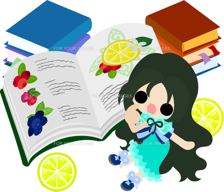 レモンと可愛い女の子のイラストのイラスト素材 [FYI00626382]