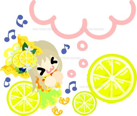 レモンと可愛い女の子のイラスト Fyi00626386 ロイヤリティフリー