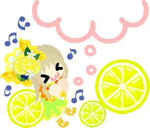 レモンと可愛い女の子のイラストのイラスト素材 [FYI00626386]