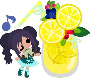 レモンと可愛い女の子のイラストのイラスト素材 [FYI00626387]
