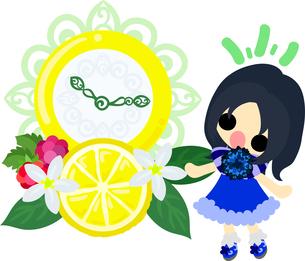 レモンと可愛い女の子のイラストのイラスト素材 [FYI00626389]