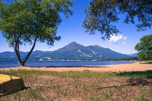 猪苗代湖から見る磐梯山の写真素材 [FYI00626424]