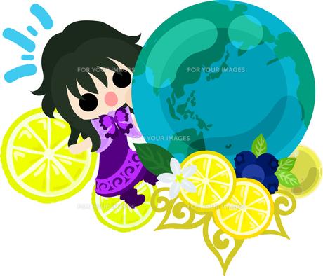 レモンと可愛い女の子のイラストのイラスト素材 [FYI00626677]