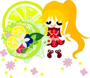 レモンと可愛い女の子のイラストのイラスト素材 [FYI00626678]