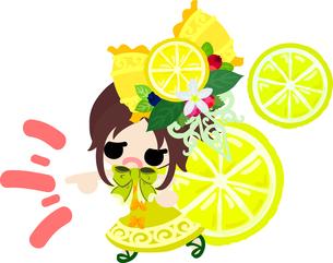 レモンと可愛い女の子のイラストのイラスト素材 [FYI00626679]