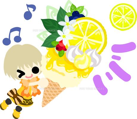 レモンと可愛い女の子のイラストのイラスト素材 [FYI00626680]
