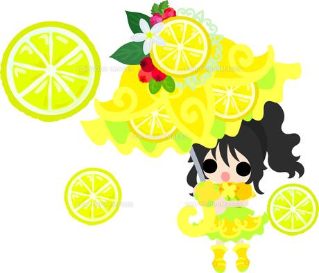 レモンと可愛い女の子のイラスト Fyi00626682 ロイヤリティフリー