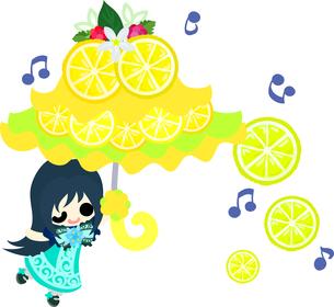 レモンと可愛い女の子のイラストのイラスト素材 [FYI00626683]