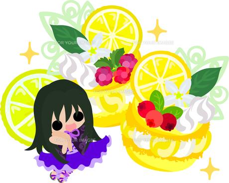 レモンと可愛い女の子のイラストのイラスト素材 [FYI00626685]