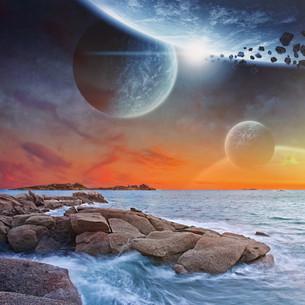 Beach planet landscapeの写真素材 [FYI00629695]