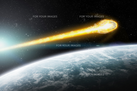 Meteorite impact on a planet in spaceの写真素材 [FYI00629699]