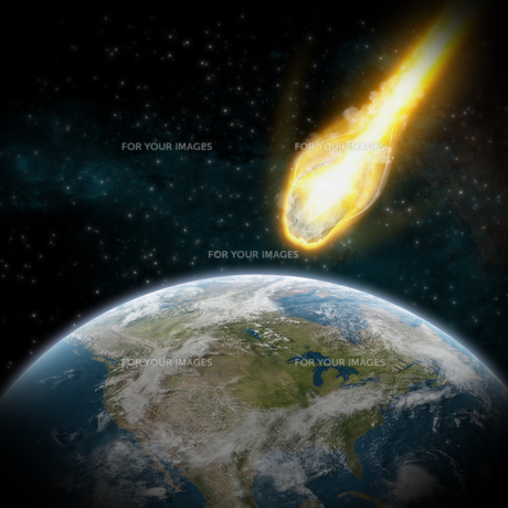Meteorite impact on a planet in spaceの写真素材 [FYI00629702]