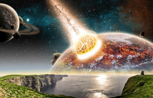 Meteorite impact on a planet in spaceの写真素材 [FYI00629716]
