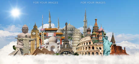illustration with famous monumentsの写真素材 [FYI00629717]