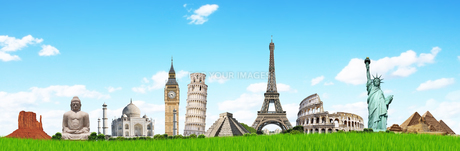 illustration with famous monumentsの写真素材 [FYI00629736]