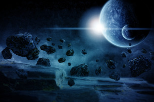 Meteorite impact on a planet in spaceの写真素材 [FYI00629737]