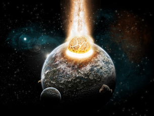 Meteorite impact on a planet in spaceの写真素材 [FYI00629773]