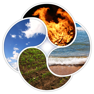 four elements - fire water earth airの写真素材 [FYI00629871]